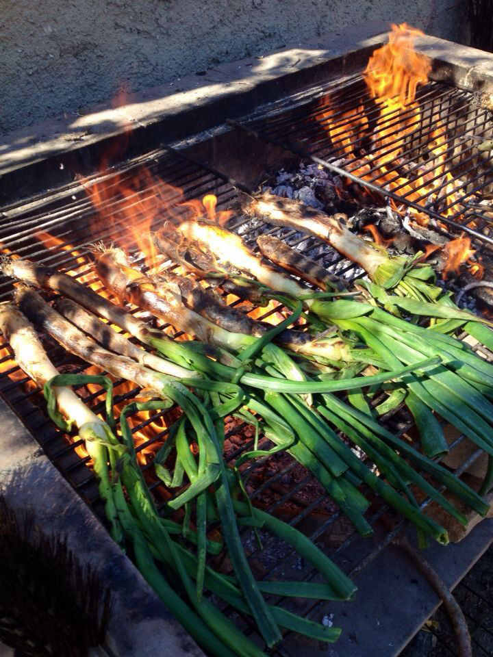 calcots on the bbq